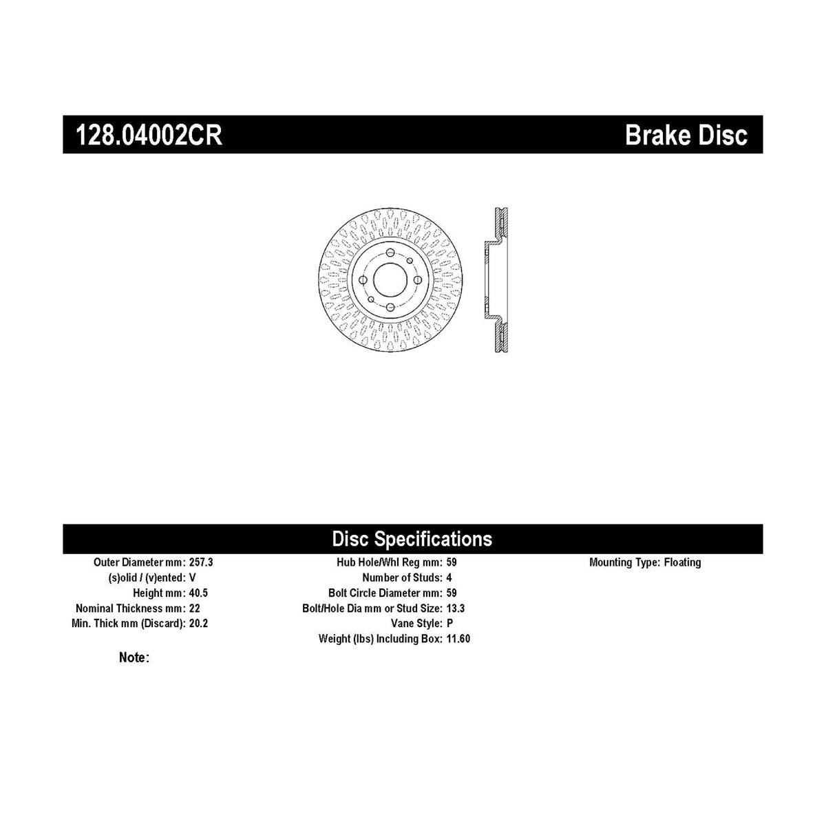 Brake Rotor StopTech 128.04002CR