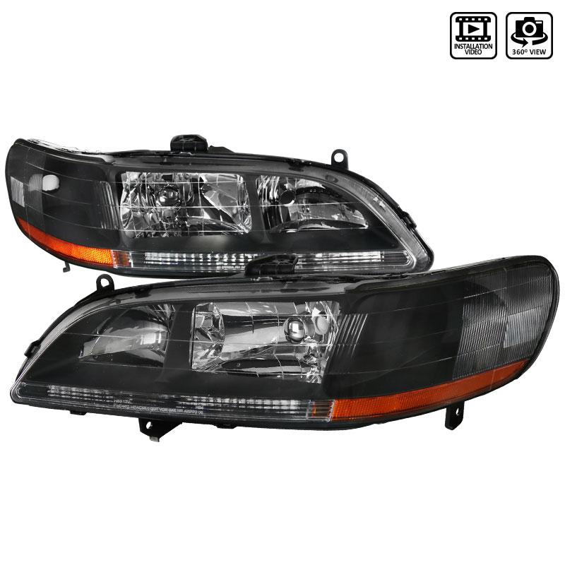 Spec-D Tuning 2LH-ACD98JM-RS - Spec-D 98-02 Honda Accord Jdm Black Headlights