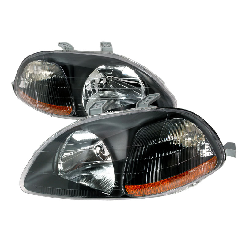 Spec-D Tuning 2LH-CV96JM-KS - Spec-D 96-98 Honda Civic Jdm Black Headlights