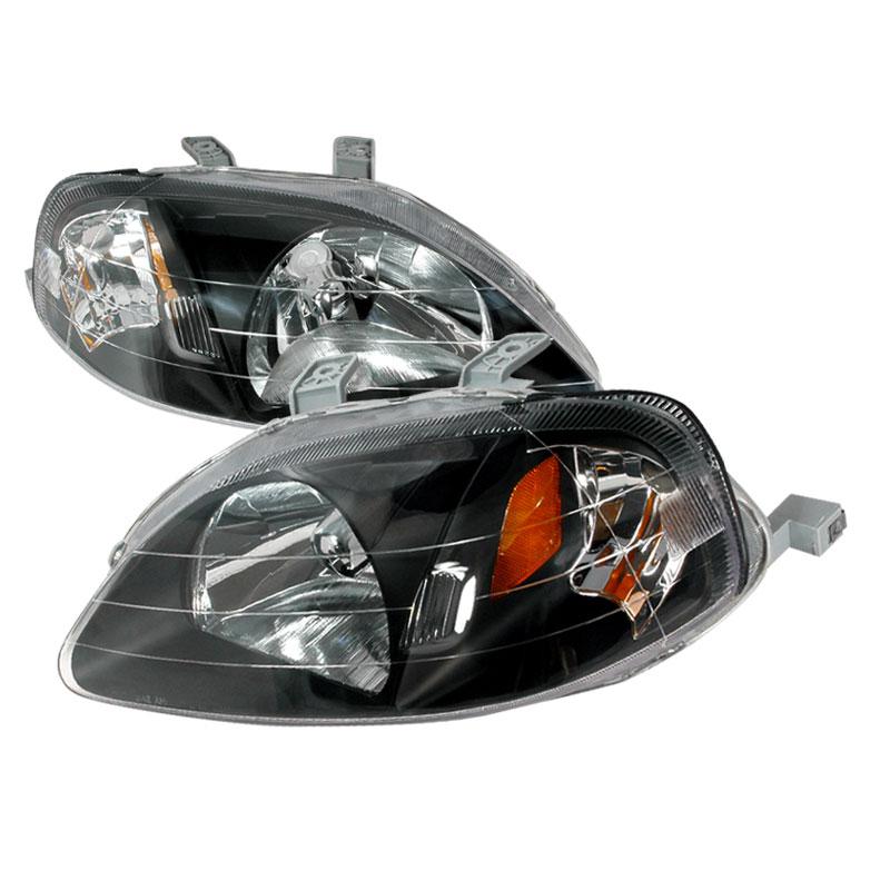 Spec-D Tuning 2LH-CV99JM-KS - Spec-D 99-00 Honda Civic Jdm Black Headlights