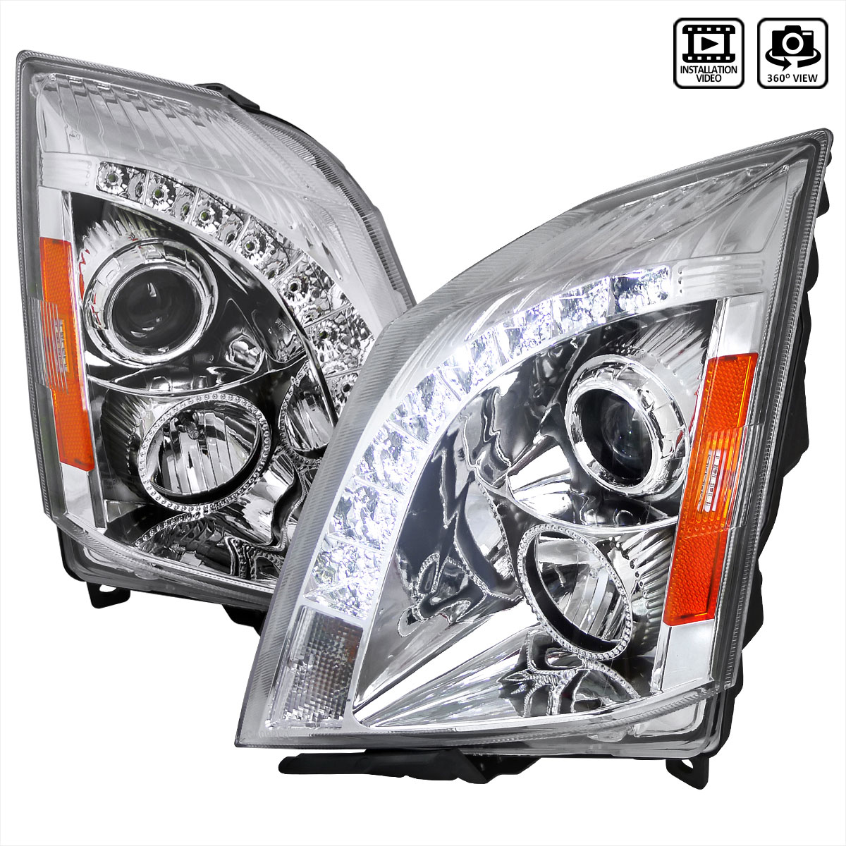 spec  tuning lhp cts rs cadillac cts halo projector headlight chrome  compatible