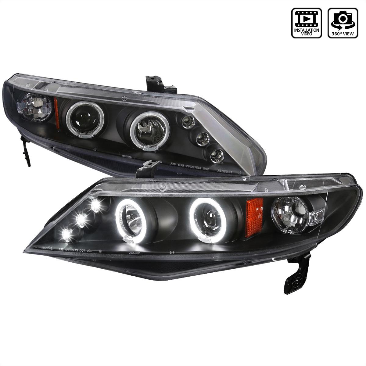 Spec-D Tuning 2LHP-CV064JM-TM - Spec-D 06-up Honda Civic 4d Ppojector Headlights