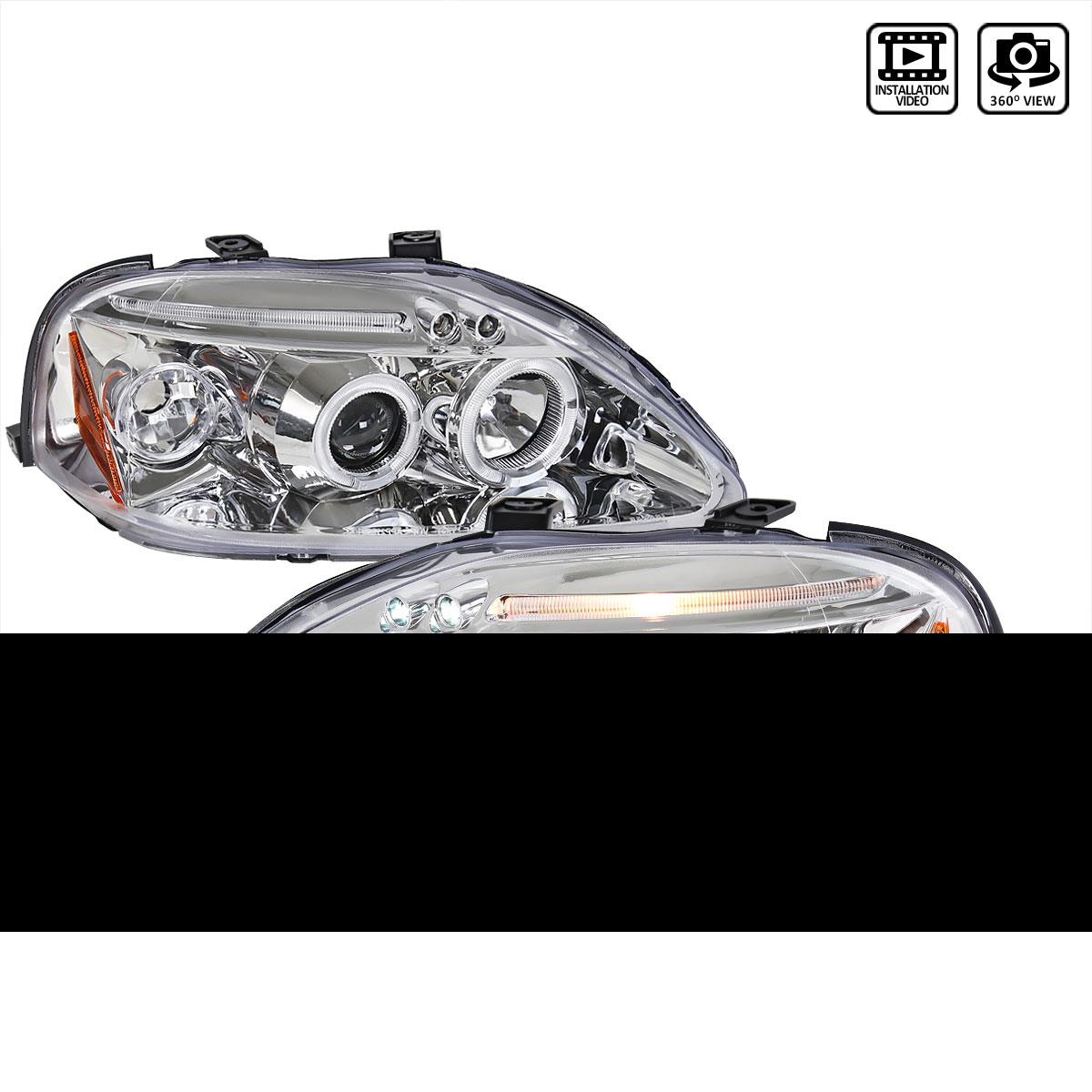 Spec-D Tuning 2LHP-CV99-TM - Spec-D 99-00 Honda Civic Led Halo Projector