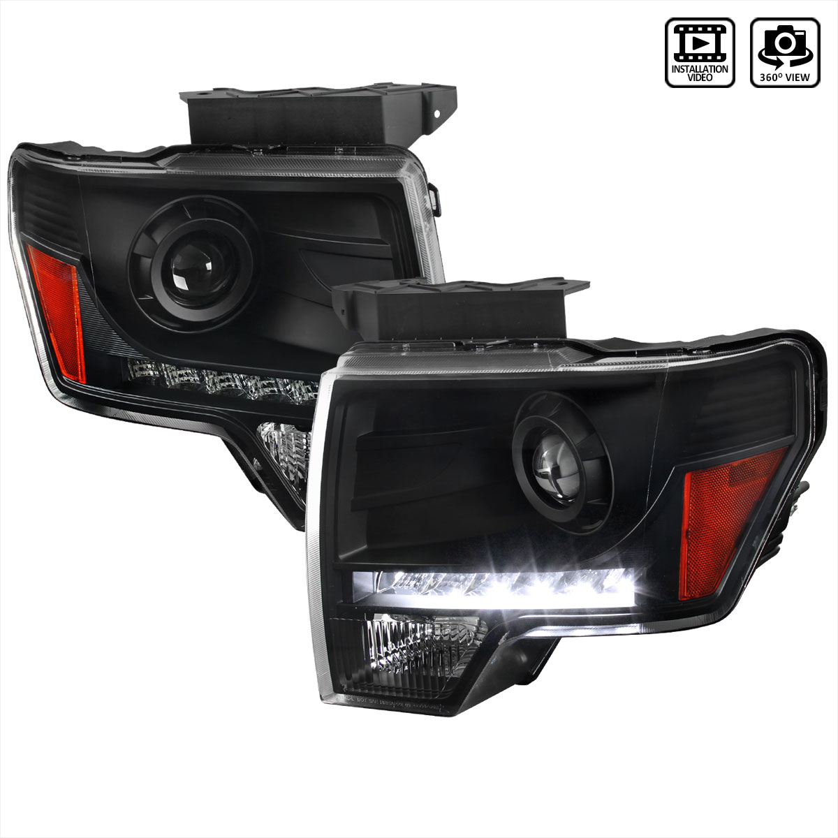 2014 F150 Headlights >> Spec D Tuning 2lhp F15009jm 8 Rs Ford F150 Black Projector Headlights With Led 2009 2014