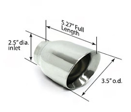 SLP Performance Parts 310305800 - SLP Exhaust Tip Polished 3.5 Double-Wall 2.5 Inlet (ea.) Universal