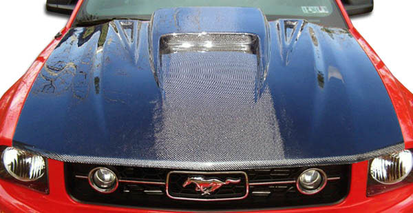 Carbon Creations 104171 | Ford Mustang Carbon Creations Spyder3 Hood 1-Piece; 2005-2009