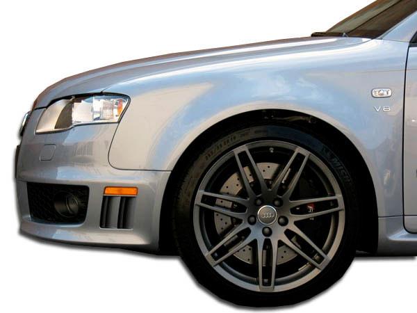 Duraflex 105320 | Audi A4 S4 4DR Duraflex RS4 Wide Body Front Fenders 2-Piece; 2006-2008