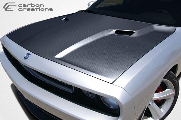 Carbon Creations 105786 | Dodge Challenger Carbon Creations SRT Look Hood 1-Piece; 2008-2016