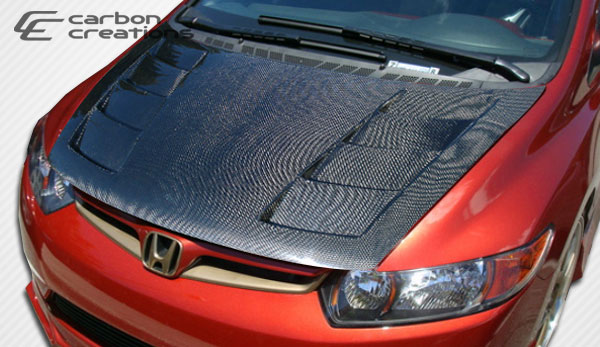 Carbon Creations 103131: 2006-2011 Honda Civic 2DR Carbon Creations Circuit Hood - 1 Piece