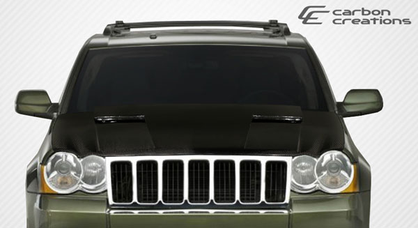 Carbon Creations 107047 | Jeep Grand Cherokee Carbon Creations Challenger Hood 1-Piece; 2005-2010