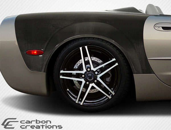 Carbon Creations 108375 | Chevrolet Corvette C5 Convertible Z06 Carbon Creations ZR Edition Rear Fenders 2-Piece; 1997-2004