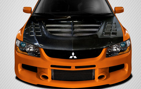 Carbon Creations 108596 | 2003-2006 Mitsubishi Lancer Evolution 8 9 Carbon Creations VT-X Hood - 1 Piece