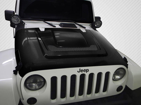 Carbon Creations 113145: 2007-2016 Jeep Wrangler Carbon Creations DriTech Heat Reduction Hood - 1 Piece