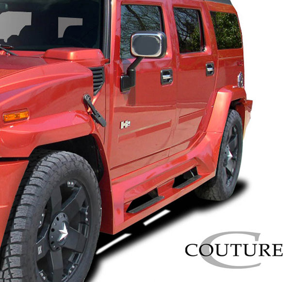 Couture 109170 | Hummer H2 Couture Vortex Wide Body Side Skirt Rocker Panels 2-Piece; 2003-2009