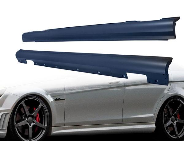 Vaero 109858 | Mercedes C Class W204 Vaero C63 Look Side Skirt Rocker Panels 2-Piece; 2008-2014