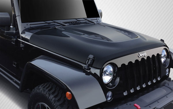 Carbon Creations 109921: 2007-2016 Jeep Wrangler Carbon Creations Power Dome Hood - 1 Piece
