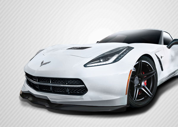 Carbon Creations 112472: 2014-2016 Chevrolet Corvette C7 Carbon Creations Apex Front Splitter - 3 Piece