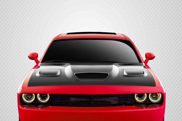 Carbon Creations 112475: 2008-2016 Dodge Challenger Carbon Creations Hellcat Look Hood - 1 Piece