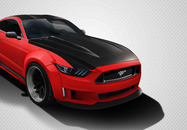 Carbon Creations 112583 | Ford Mustang Carbon Creations Cowl Hood 1-Piece; 2015-2016