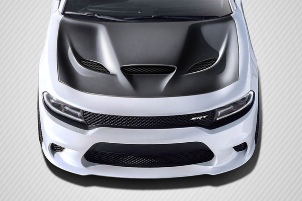 Carbon Creations 112615: 2015-2016 Dodge Charger Carbon Creations Hellcat Look Hood - 1 Piece