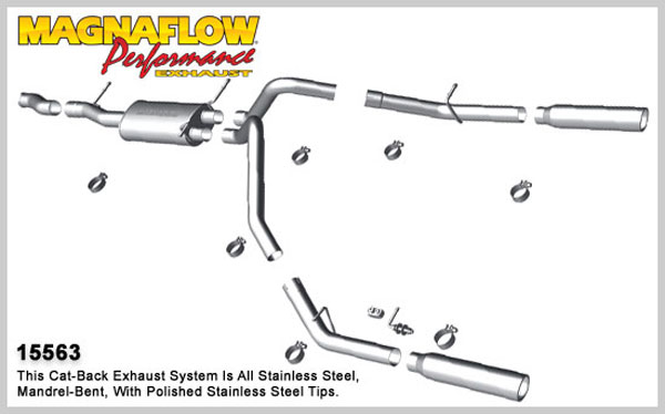 Magnaflow 15563:  Exhaust System for 2010-11 4.8L 5.3L Silverado Sierra SC/ShortB Dual Split Rear Exit