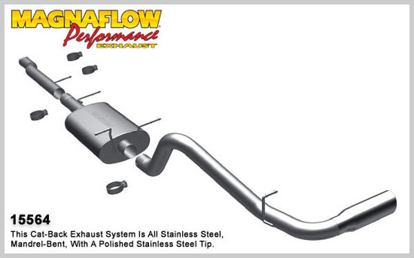 Magnaflow 15564:  Exhaust System for 2010-11 4.8L 5.3L Silverado Sierra CC/ShortB Single Side Exit
