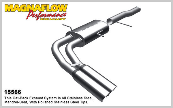 Magnaflow 15566:  Exhaust System for 2010-11 4.8L 5.3L Silverado Sierra CC/ShortB Dual Same Side Before Tire Exit