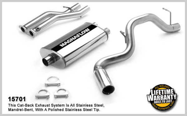 Magnaflow 15701:  Exhaust System for GM TAHOE/YUKON 1996-1999 5.7L Single Side Exit 5 x 11 x 22in. Dual Inlet Muffler; 3.0/2.5in. Tubing