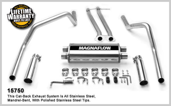 Magnaflow 15750:  Exhaust System for GM Chevy GMC C1500/K1500 1996-1998 Dual Split Rear Exit
