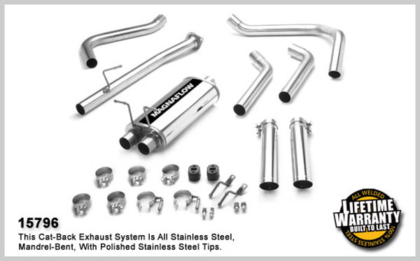 Magnaflow 15796:  Exhaust System for GM S10/SONOMA 2000-2003 4.3L EC 73in Bed Dual Split Rear Exit