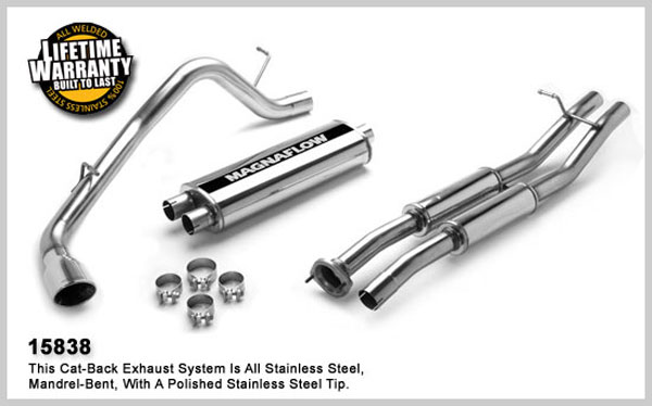Magnaflow 15838:  Exhaust System for GM SIERRA/SILVERADO SS 2003-2007 6.0L EC 78inch Bed Single Straight Rear Exit