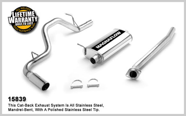 Magnaflow 15839:  Exhaust System for GM SILVERADO/SIERRA 1500 2004-2007 4.8L 5.3L CC 68inch Bed Single Straight Rear Exit