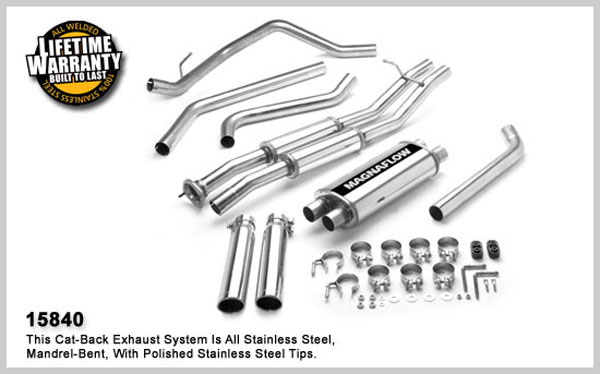 Magnaflow 15840:  Exhaust System for GM SIERRA/SILVERADO SS 2003-2007 6.0L EC 78inch Bed Dual Split Rear Exit