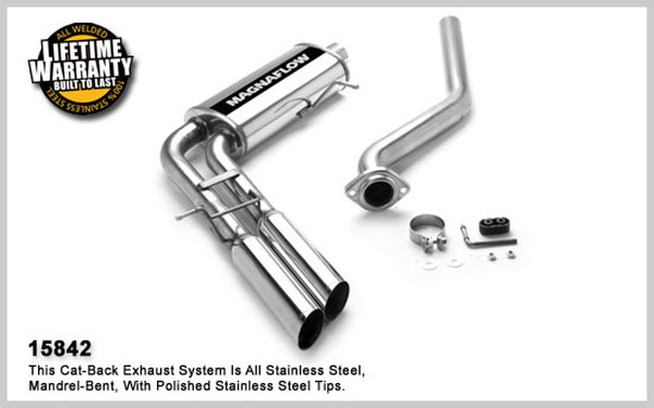 Magnaflow 15842:  Exhaust System for GM SILVERADO/SIERRA 1500 2003-2007 4.3L 4.8L 5.3L Classic EC/ShortB Dual Same Side Before Tire Exit