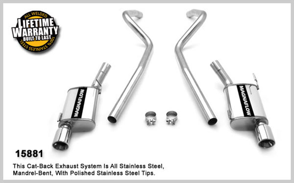 Magnaflow 15881:  Exhaust System for FORD MUSTANG V8 GT 2005-2010 Cat-Back 2.5 inch Exhaust System