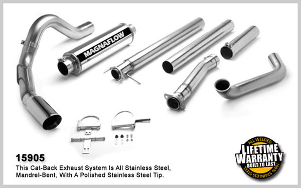 Magnaflow 15905:  Exhaust System for FORD 7.3L POWERSTROKE DIESEL, 4in SYSTEM 1999-2003