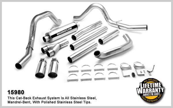 Magnaflow 15980:  Exhaust System for FORD 7.3L POWERSTROKE DIESEL, 4in SYSTEM 1999-2003