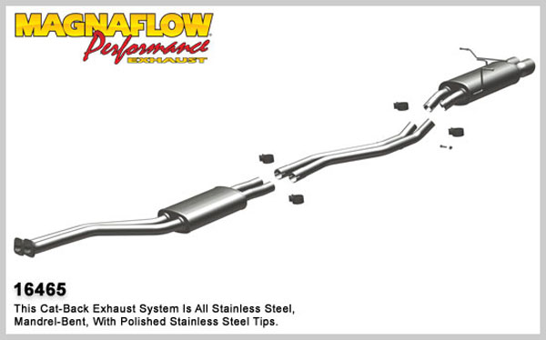 Magnaflow 16465:  Exhaust System for 2001-02 BMW Z3 2.5L/3.0L l6