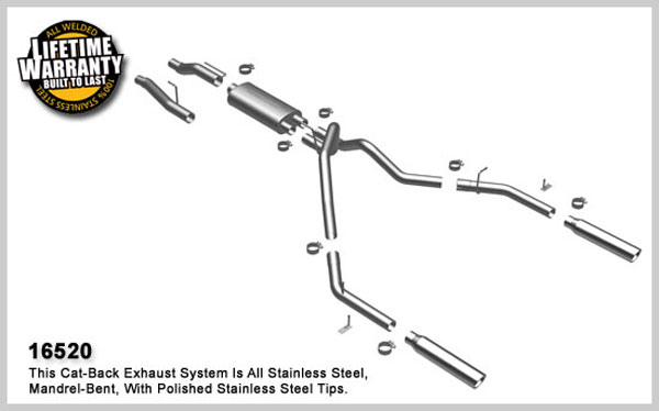 Magnaflow 16520:  Exhaust System for FORD F-150 2004-08 Dual Split Rear Exit