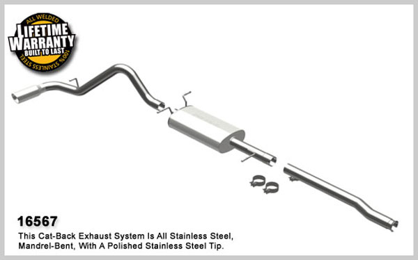 Magnaflow 16567:  Exhaust System for 2009 Silverado/Sierra 4.8L 5.3L 6.0L CC/EC, Shrt Bed Single Side Exit