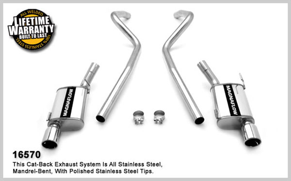 Magnaflow 16570:  2010 Mustang GT V8 Exhaust System with pipes DUAL SPLIT REAR EXIT