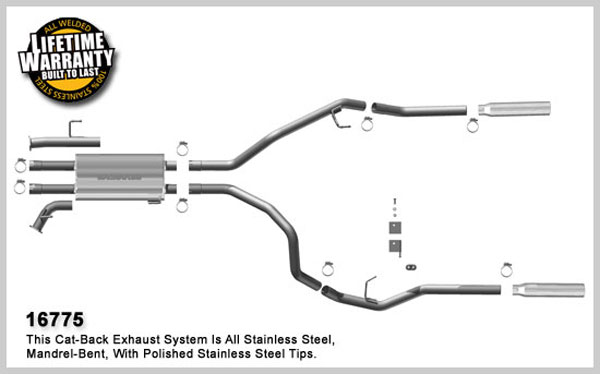Magnaflow 16775:  Exhaust System for 2007-08 Toyota Tundra 5.7 SC/SB dual r