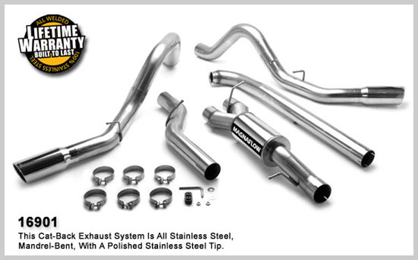 Magnaflow 16901:  Exhaust System for GM DURAMAX DIESEL 6.6L Silverado/Sierra 2500HD/3500 CC/Shrt Bed 4in. TB SYSTEM 2001-2007 Dual Split Rear Behind Tires Exit