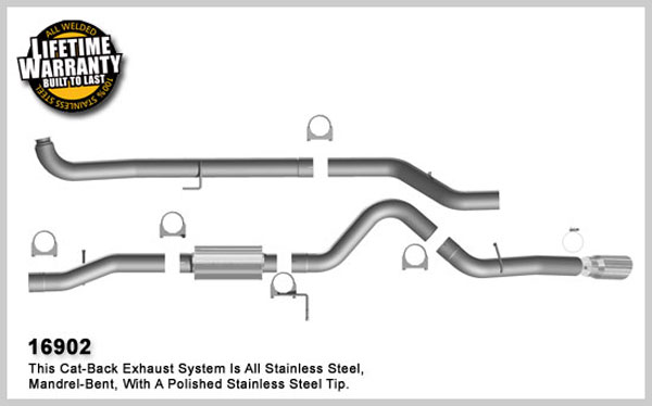 Magnaflow 16902:  Exhaust System for GM DURAMAX DIESEL 6.6L Silverado/Sierra 2500HD/3500 CC/Shrt Bed 4in. TB SYSTEM 2001-2007 Clamp on Tip Single Side Exit