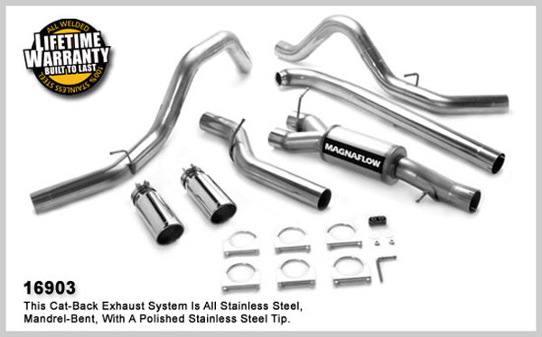 Magnaflow 16903:  Exhaust System for GM DURAMAX DIESEL 6.6L Silverado/Sierra 2500HD/3500 CC/Shrt Bed 4in. TB SYSTEM 2001-2007 Clamp on Tip Dual Split Rear Behind Tires Exit