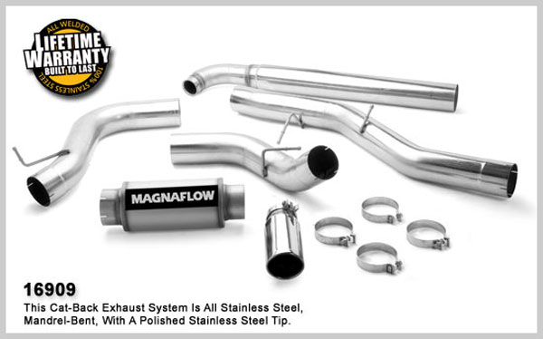 Magnaflow 16909:  Exhaust System for GM DURAMAX DIESEL 6.6L Silverado/Sierra 2500HD/3500 CC/Shrt Bed 5in. TB SYSTEM 2001-2007 Clamp on Tip Single Side Exit