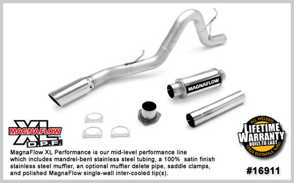 Magnaflow 16911:  Exhaust System for GM DURAMAX DIESEL 6.6L Silverado/Sierra 2500HD/3500 ECC/Shrt-Long Bed 4in. XL SYSTEM 2007-2010 Single Side Exit