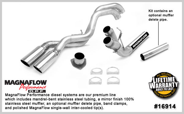 Magnaflow 16914:  Exhaust System for GM DURAMAX DIESEL 6.6L Silverado/Sierra 2500HD/3500 ECC/Shrt-Long Bed 4in. Muffler Delete SYSTEM 2007-2010 Dual Sale Side Before Tire Exit