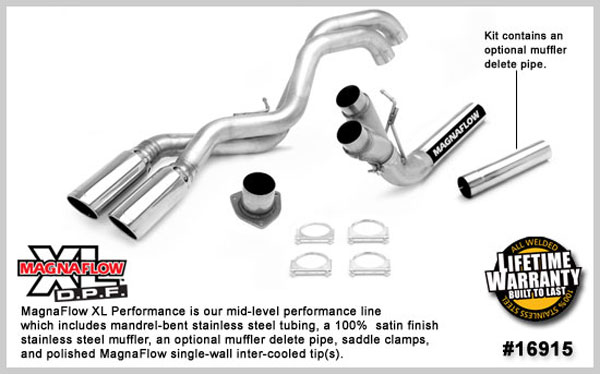 Magnaflow 16915:  Exhaust System for GM DURAMAX DIESEL 6.6L Silverado/Sierra 2500HD/3500 ECC/Shrt-Long Bed 4in. Muffler Delete SYSTEM 2007-2010 Dual Sale Side After Tire Exit