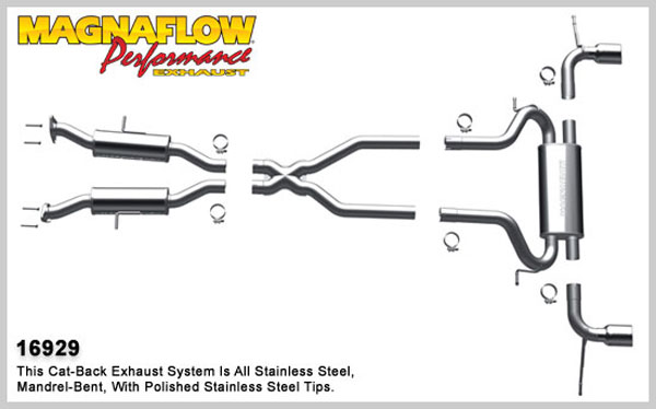 Magnaflow 16929:  Exhaust System for 2011-14 Grand Cherokee 5.7L, 3.6L
